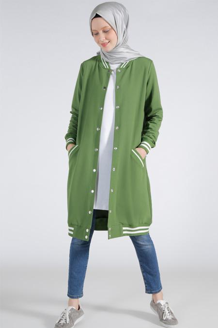 Benin Yeşil Uzun Bomber Ceket