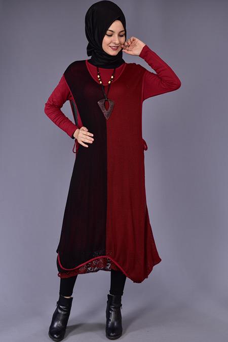 Bordo İki Renkli Kolyeli File Elbise Tunik