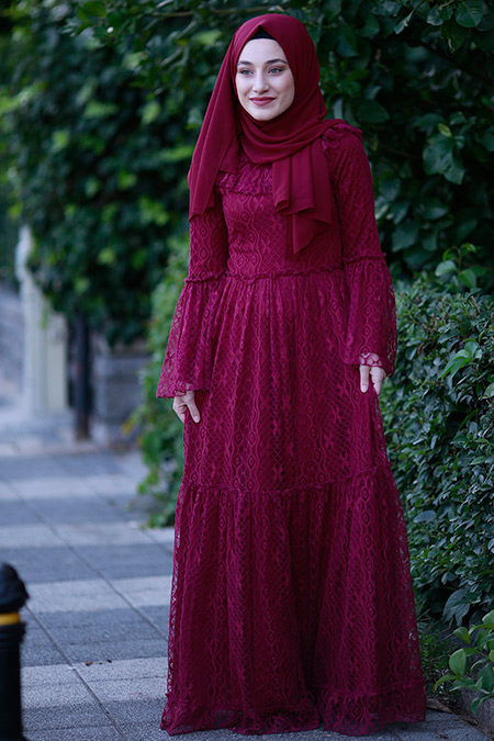 Gamze Özkul Mürdüm Yasmin Dantel Elbise