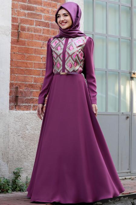 Gamze Özkul Gül Kurusu Baklava Desenli Elbise