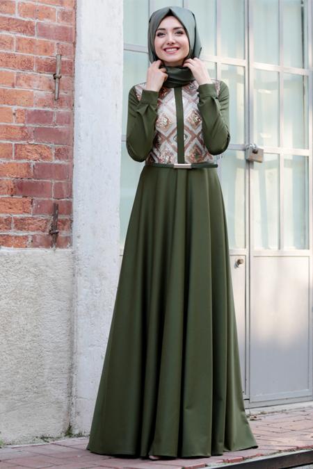 Gamze Özkul Haki Baklava Desenli Elbise