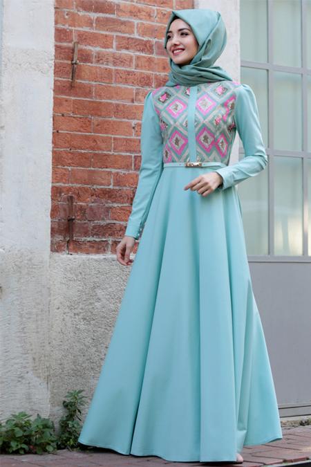 Gamze Özkul Mint Yeşili Baklava Desenli Elbise