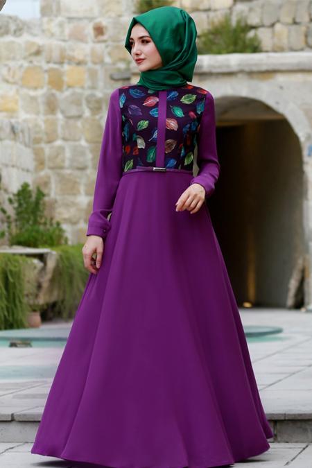 Gamze Özkul Mor Yaprak Elbise