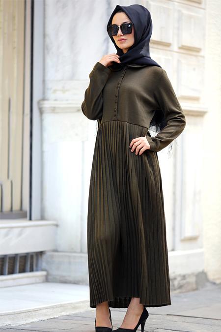 Gizem Kış Haki Karanfil Elbise