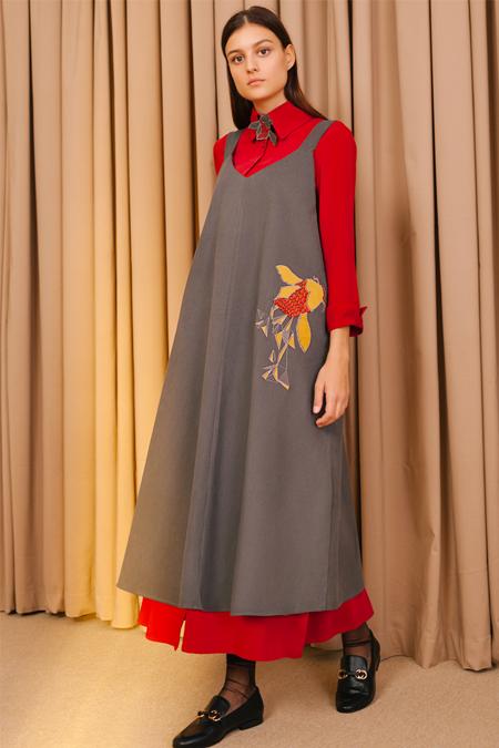 Kuaybe Gider Gri Jile Elbise