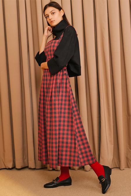 Kuaybe Gider Kırmızı Ekose Jile Elbise