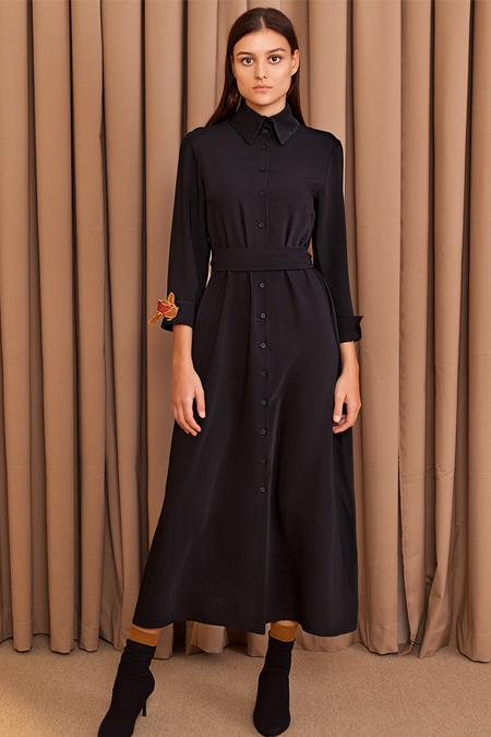 Kuaybe Gider Siyah Boydan Düğmeli Elbise
