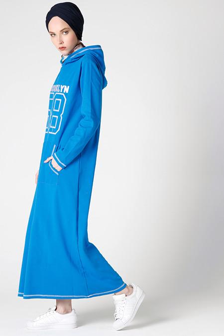 Muni Muni Mavi Kapüşonlu Elbise