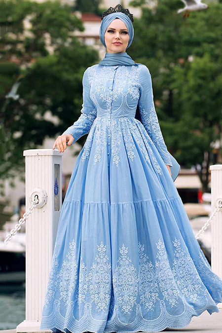 Muslima Wear Bebe Mavi Pamuklu Elbise