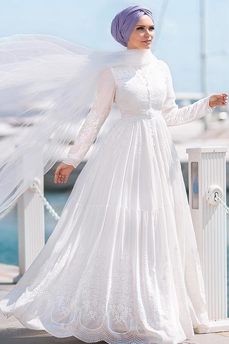 Muslima Wear Ekru Pamuklu Elbise