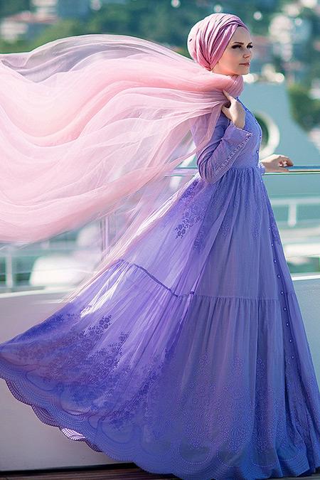 Muslima Wear Lila Pamuklu Elbise
