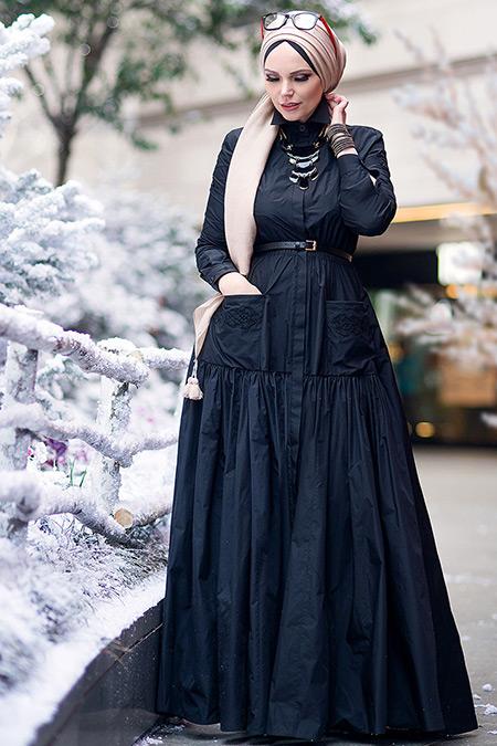 Muslima Wear Siyah Aiza Elbise