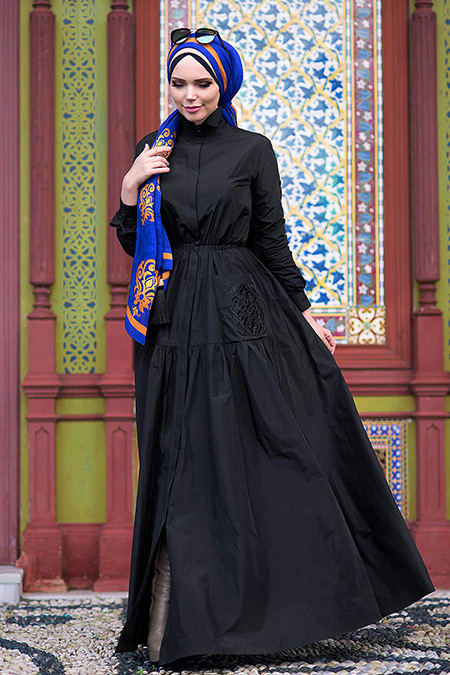 Muslima Wear Siyah Blazer Elbise
