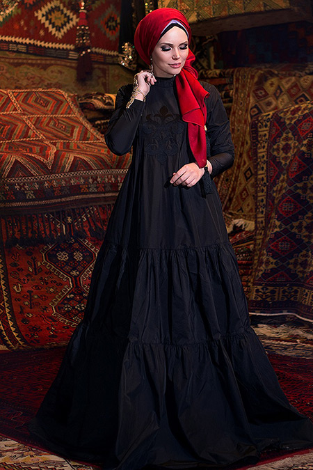 Muslima Wear Siyah Charmony Elbise