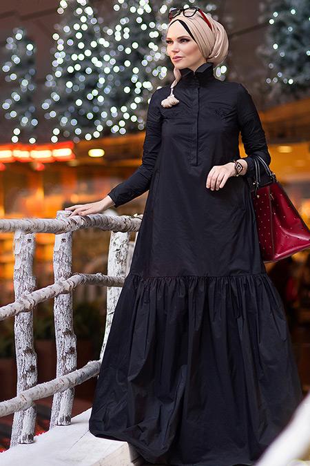 Muslima Wear Siyah Oxford Elbise