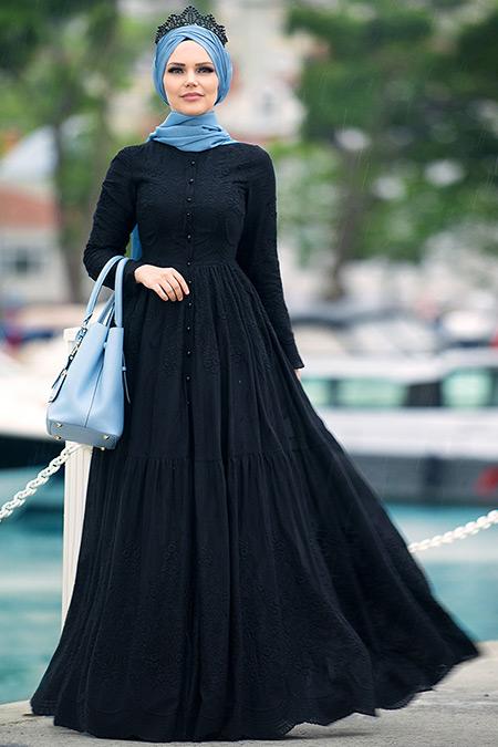 Muslima Wear Siyah Pamuklu Elbise