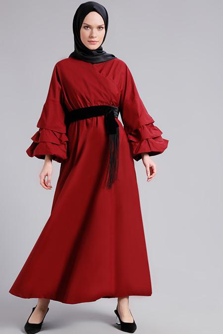 Refka Bordo Doğal Kumaşlı Kol Detaylı Elbise