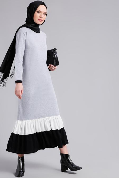 Refka Gri Fırfır Detaylı Elbise