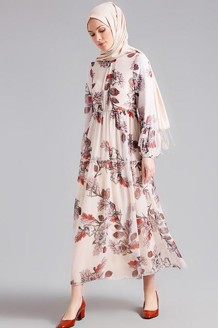 Refka Krem Desenli Elbise