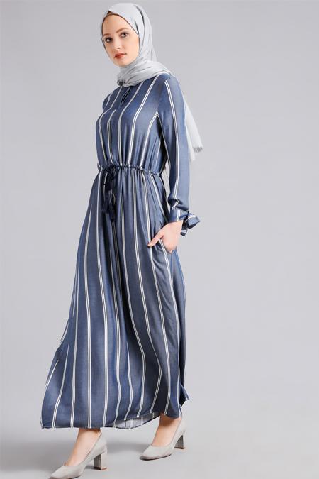 Refka Mavi Doğal Kumaşlı Beli Büzgülü Elbise