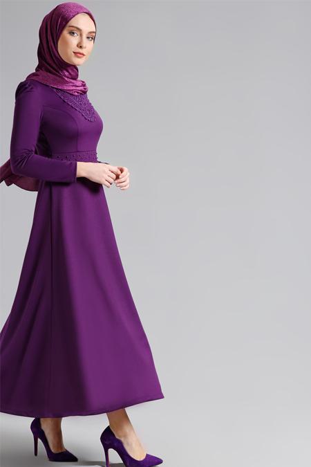 Refka Mor İnci Detaylı Elbise