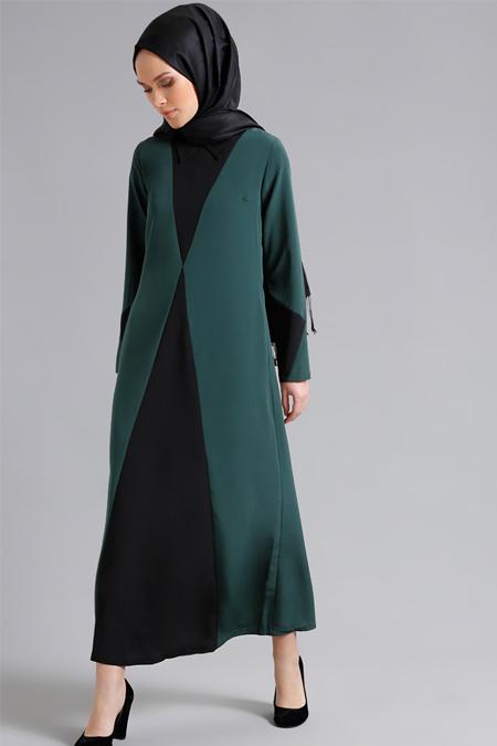 Refka Zümrüt Siyah Garnili Elbise
