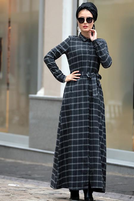 Selma Sarı Design Antrasit Işıl Ekose Elbise