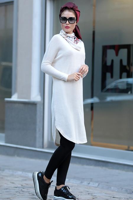Selma Sarı Design Bej Şal Detaylı Triko Tunik