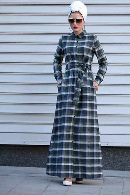 Selma Sarı Design Lacivert Haki Işıl Ekose Elbise