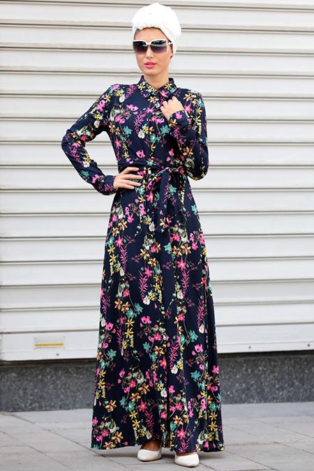 Selma Sarı Design Lacivert Sarı Yaren Elbise