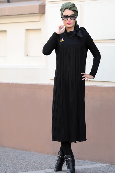 Selma Sarı Design Siyah Selin Triko Tunik