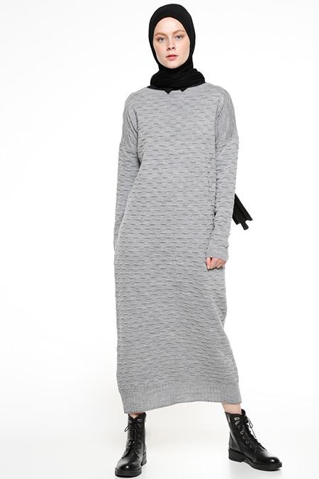 Zentoni Gri Triko Elbise
