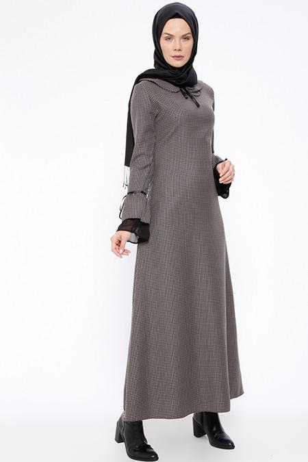 BÜRÜN Koyu Vizon Kazayağı Desenli Elbise