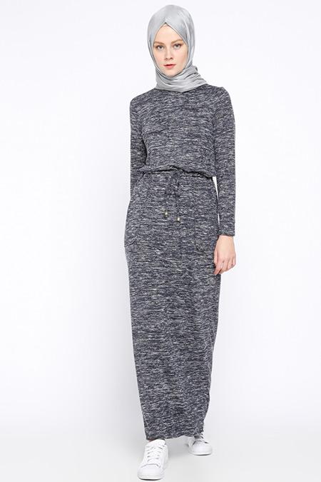 Beha Tesettür Lacivert Beli Bağcıklı Elbise