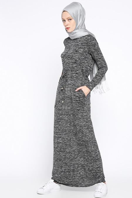 Beha Tesettür Siyah Beli Bağcıklı Elbise