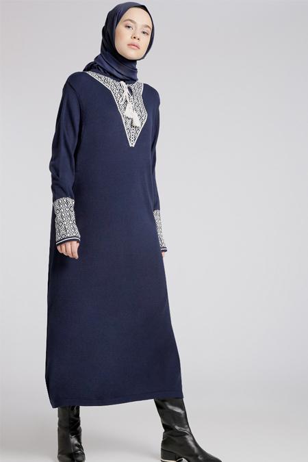 Benin Lacivert Taş Triko Elbise