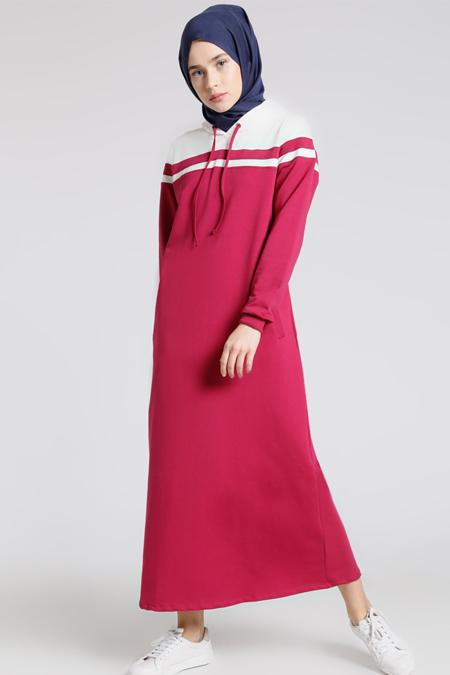 Benin Vişne Kapüşonlu Elbise