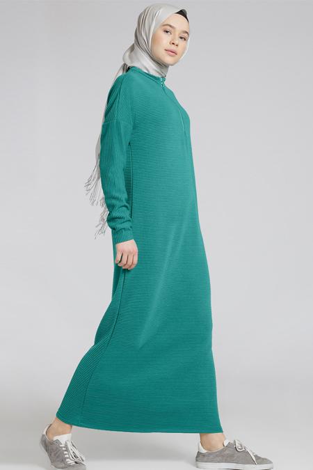 Benin Yeşil Kendinden Çizgili Elbise