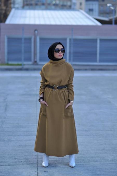 Elif ESER Kahve Cep Detaylı Elbise