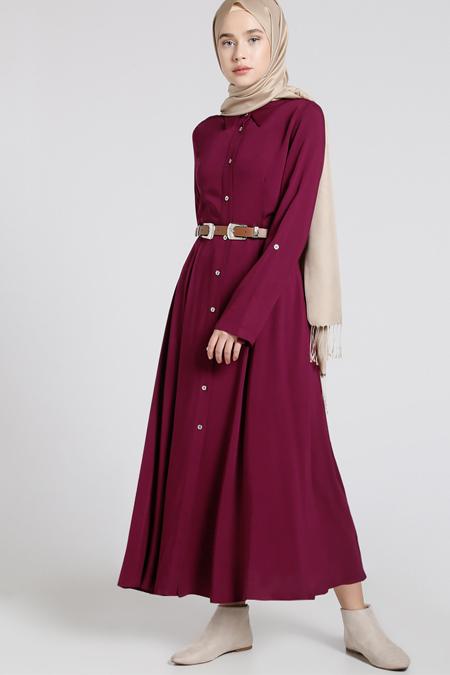 Everyday Basic Mürdüm Doğal Kumaşlı Kemerli Elbise