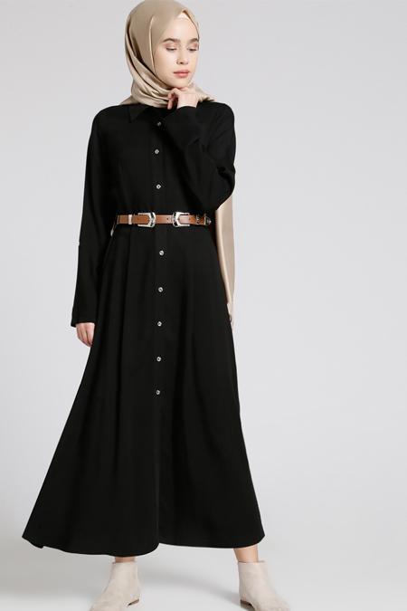 Everyday Basic Siyah Doğal Kumaşlı Kemerli Elbise