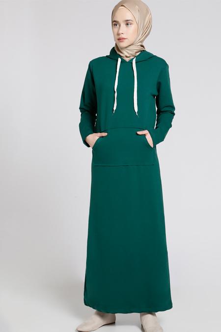 Everyday Basic Zümrüt Doğal Kumaşlı Kapüşonlu Elbise