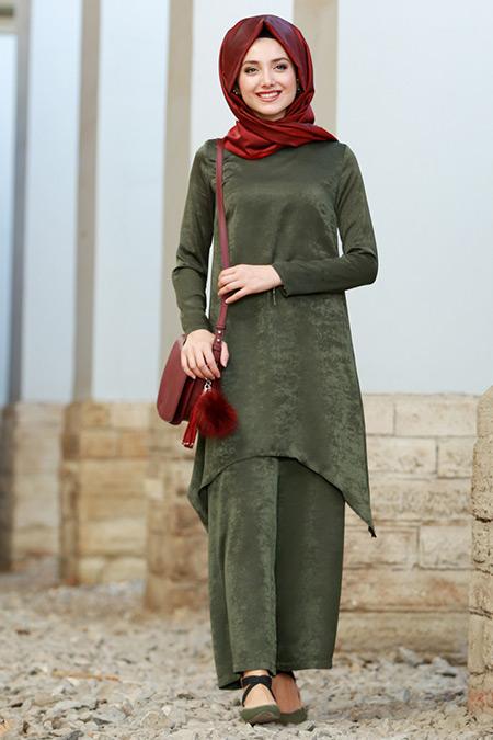 Gamze Özkul Haki Milena Düz Tunik&Pantolon İkili Takım