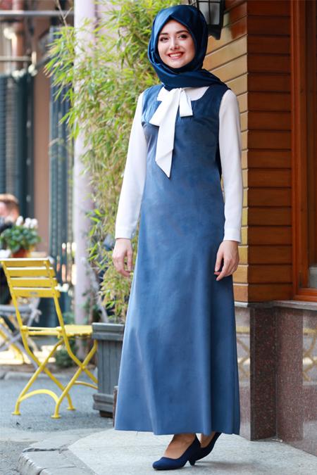 Gamze Özkul İndigo Askılı Kadife Elbise