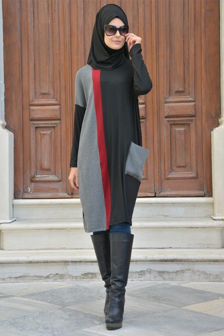 Henna Elısa Gri Siyah Garnili Tunik
