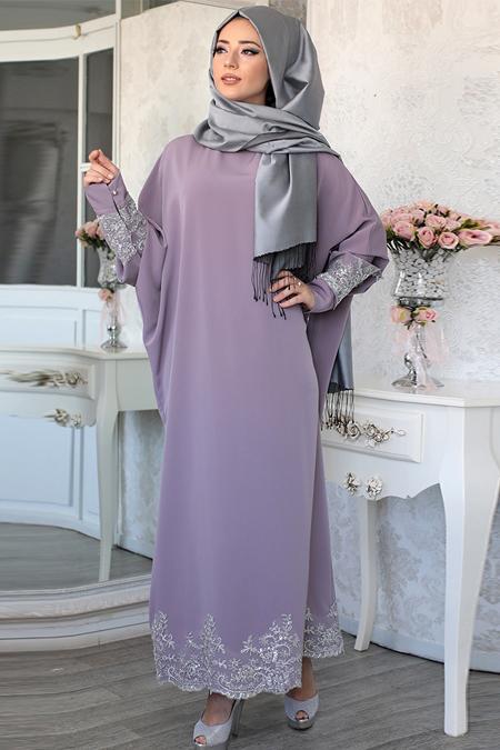 Lefzen Lila Tuana Dantelli Elbise