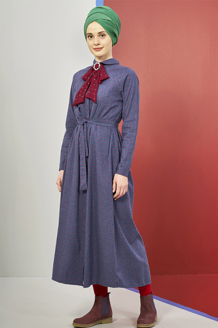 Mevra Mavi Adel Ekoseli Elbise