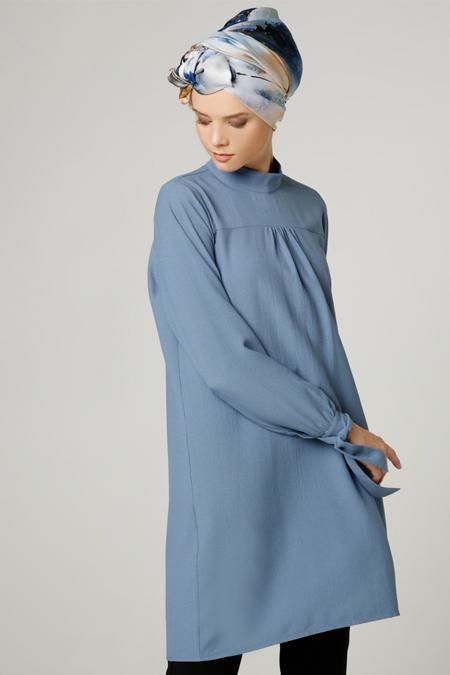 Milda Store Mavi Manşet Detaylı Tunik