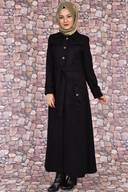 Modamerve Siyah Boydan Düğmeli Kaşe Manto Kaban