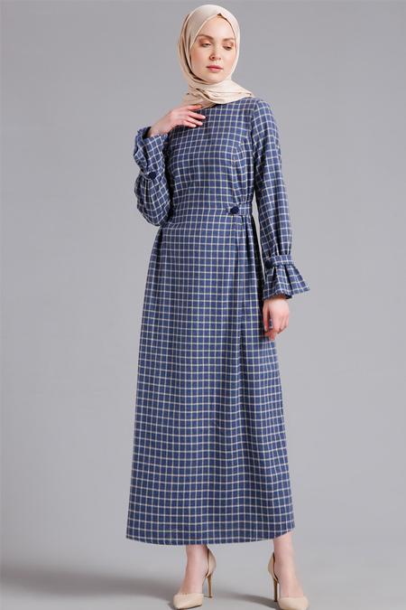 Refka Bej Kare Desenli Elbise